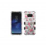 Funda Case Para Samsung S8 Doble Protector De Plástico Super Resistente TUFF Uso Rudo - Rosas 2D
