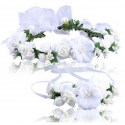 Venda Pulsera Guirnalda De La Boda Flores Circlets - Blanco