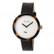 Simplify The 3700 Leather-Band Watch - Black/White/Black SIM3702