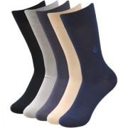 Balenzia Men's Embroidered Premium Mercerised Cotton Socks -Black Dark Grey Light Grey Navy Beige- Pack of 5