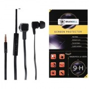 BrainBell Combo Of UBON Earphone BS-37 BEAST SERIES BIG DADDY BASS And GIONEE A1 Tempered Scratch Guard Screen Protector