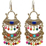 Lucky Jewellery Trendy Multicolor Oxidised Plating Afghani Earring For Girls & Women