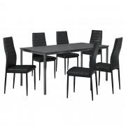 [en.casa] Set de mesa de comedor diseño [160cm x 80cm x 75cm] gris oscuro - 6 x sillas tapizadas en cuero sintético - negro