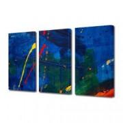 Tablou Canvas Premium Abstract Multicolor Albastru Rosu Galben Decoratiuni Moderne pentru Casa 3 x 70 x 100 cm
