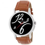 Mark Regal Round Black Dail Brwon Leather Strap Analog Watch For Mens