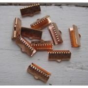 Ändfäste platta band Roséguldfärgad - Bredare modell, 15 mm, 10- pack