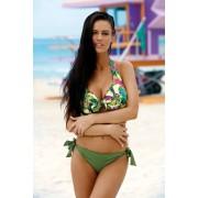 Kaki kétrészes fürdőruha szivacs nélküli melltartó klasszikus melltartó állítható bikinivel