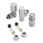 Hudson Reed Robinet de radiateur thermostatique – Chromé - Adaptateurs cuivre 16mm