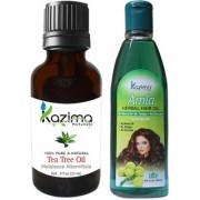 KAZIMA Combo of Tea Tree Oil (15ML) and Amla Herbal Hair Oil (100ML) Anti Hair Loss Treatment & Dandruff Control