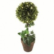 Decoratiune planta artificiala buxus 25 LED-uri 43 cm de interior Home