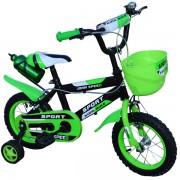 """Bicicleta pentru copii 12"""" Nebunici cu roti ajutatoare si cos de depozitare din plastic, cadru otel John Speed"""