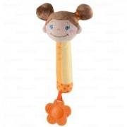 Бебешка плюшена пищялка с гризалка Момиче брюнетка, 1283 Babyono, 9070131