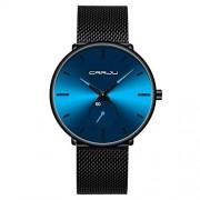 CRRJU Reloj de pulsera analógico de cuarzo para hombre, esfera negra, con correa de malla, Negro/Azul
