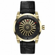 ZINVO BLADE Onyx Automatic Movement Rotating Disc Yellow Gold Steel Case Onyx Mens Wrist Watch Black Leather Strap