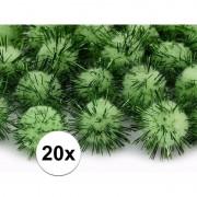 Geen 20x appel groene knutsel pompons 20 mm