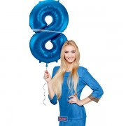 8. szám, fólia lufi, 86 cm, kék