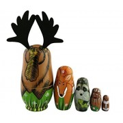 North American Woodland Forest Animals Wooden Handmade Russian Nesting Dolls Matryoshka Dolls Animal Figurines Set 5 Pieces For Kids Toy Birthday Christmas Gift Parent-Child Time Home Decoration