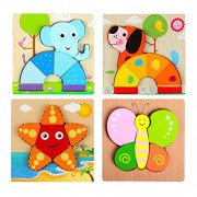 TOYMYTOY Wooden Shape Puzzle Geometric Sorter Toy Preschool Chunky Puzzles 4pcs (Butterfly/Star/Elephant/Dog)