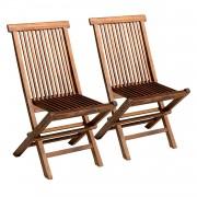Happy Garden Lot de 2 chaises de jardin en teck huilé LOMBOK