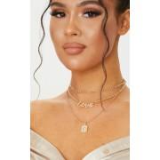 PrettyLittleThing Collier doré de chaînes superposées à pierre fantaisie et slogan Love, Doré - One Size