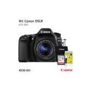 Câmera Canon EOS 80D 18-55mm, Cartão 32gb (C10), Bolsa Tripe de Mesa e Kit Limpeza