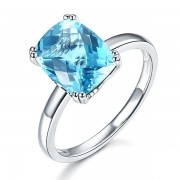 Inel Borealy Aur Alb 14 K Swiss Blue Topaz Natural Wedding Engagement