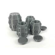 4 Barrel Set (3) Open Barrels With Lid (1) Large Barrel 28mm Scale 3d Printed Unpainted