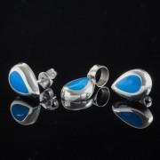 Aditi - Silver örhängen med berlock droppe blå