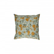 Dille&Kamille Housse de coussin, coton, vert/jauneà motif fleur, 45 x 45 cm