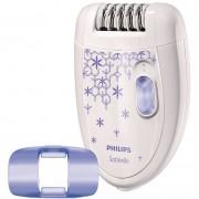 Epilator Philips HP6421, 2 trepte de viteza, 21 de discuri, cap de epilare lavabil, capac pentru zone sensibile, alb-mov