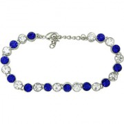 Mahi Rhodium Plated Alternate Blue and White Solitaire Crystals Tennis Bracelet for Women BR1100275RBlu