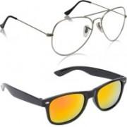 Phenomenal Aviator, Wayfarer Sunglasses(Clear, Yellow)