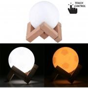 0.1W 3D Print Football Lampara USB De Carga 2 Colores Cambiantes LED Touch Control Ahorro De Energía Luz De Noche Con Soporte De Madera Base, Diámetro: 8 Cm