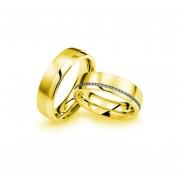 Argollas De Matrimonio Modelo A15 De Oro Amarillo De 14Kt Con 20 Diamantes Naturales De .02ct C/u