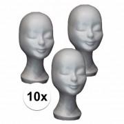 Merkloos 10 witte paspop hoofden van piepschuim