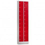 Stalen Mini Locker met 20 vakken (Rode deurtjes)