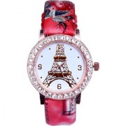 New Arrival Rose Gold Diamond Studded Red Leather Belt Women Watch Watch - For Girls