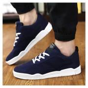 Zapatos De Los Hombres Calzado Deportivo Suede Leather Zapatos De Tenis Casual Masculino -Azul