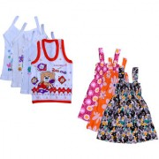 IndiWeaves Baby Girls Cotton Printed Frock and Printed Slips (Pack of 7)