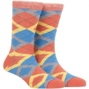 Soxytoes The Scotsman Orange Cotton Calf Length Pack of 1 Pair Argyle for Men Formal Socks (STS0016B)