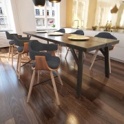 Трапезен стол с извита дървена рамка и тапицерия от плат, 6 бр.