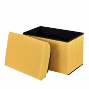 Сгъваема табуретка с място за съхранение [en.casa]® ,48cm x 32cm x 32cm, Горчица