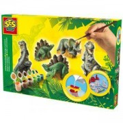 Детски креативен комплект за отливки и оцветяване, Динозаври, SES, 080593