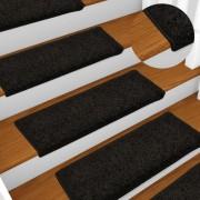 vidaXL Tapis d'escalier 15 pcs 65x25 cm Noir