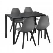 [en.casa]® Mesa de comedor Minimalista - Negro - 105cm x 60cm x 75cm - para 4 Personas - Set de 4 x Sillas de diseño - 83cm x 54cm x 48cm - Gris - Juego de comedor