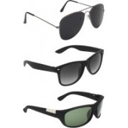 Abner Aviator, Wayfarer, Wrap-around Sunglasses(Black, Black, Green)