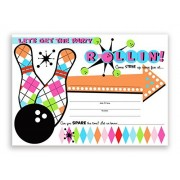 Pop Parties Bowling Party Large Invitations Pink - 20 + Envelopes