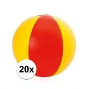 Merkloos 20x Opblaasbare Spanje strandbal - Strandballen