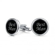 Bling Jewelry BLING BLING heren Zwart Gelakt roestvrij staal verguld bruiloft op beste Men manchetknopen