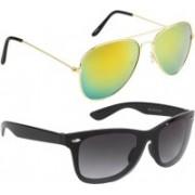 NuVew Aviator, Wayfarer Sunglasses(Black, Golden)